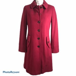NWT Lands End Wool Dress Coat Raspberry 6 3/4 Lgth